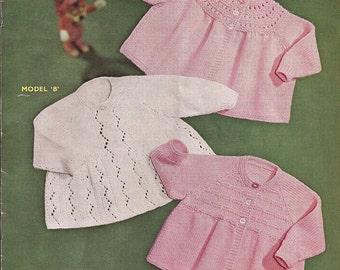 "PDF Knitting Pattern Baby Matinee Coat/Jackets to fit sizes 20"" (X153)"