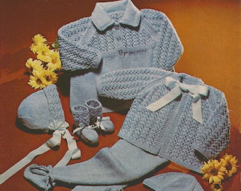 """PDF Knitting Pattern Baby Matinee Coat Set with Bonnet/Helmet, Mitts and Bootees sizes 18 to 20""""  (BRT157)"""