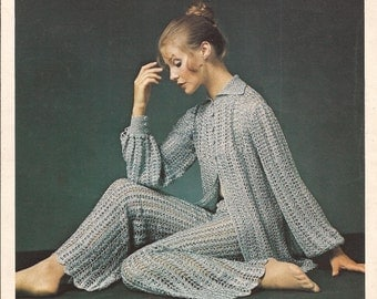 PDF Vintage Crochet Trouser Suit - Sleeveless Tunic and Trousers Crochet Pattern