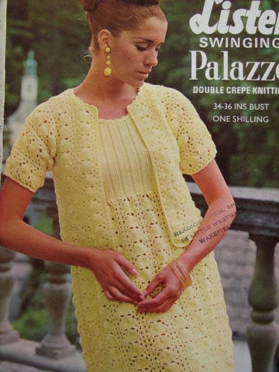 PDF Knitting Pattern Ladies Vintage Knitted Dress & Jacket