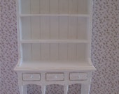Dollhouse Kitchen Hutch,  Dresser, hutch, aged, white, twelfth scale, dollhouse miniature