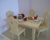 RESERVED  for  JESSIEKitchen table dressed  and four chairs.  Twelfh scale dollhouse miniature