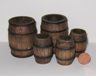 Dollhouse Barrels, five, dark oak, Medieval, Tudor, Country,   twelfth scale, a dollshouse miniature