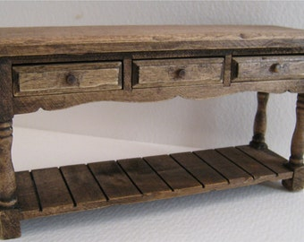 Miniature Sideboard , dollhouse table. dark oak mini table,  twelfth scale dollhouse miniature