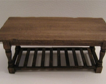 Dollhouse Table, country style table, slat bottom table, oak stained table, twelfth scale dollhouse piece