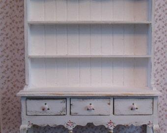 Dollhouse Chiffonier, ladies boudoirj white hutch, gold brushings, , or dining room dresser, a dollhouse miniature