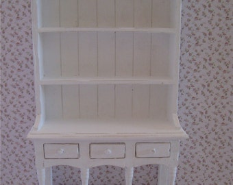 Dollhouse Kitchen Hutch,  Dresser, hutch, aged, white, twelfth scale, dollhouse miniature