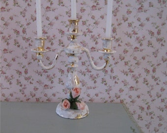 Dollhouse Candelabra, Tatty chic accessory, hand finished, twelfth scale, dollhouse accessory