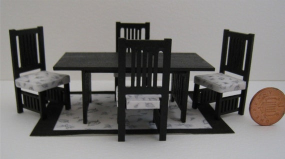 Arts and crafts style dining room set half by for Arts and crafts dining room set