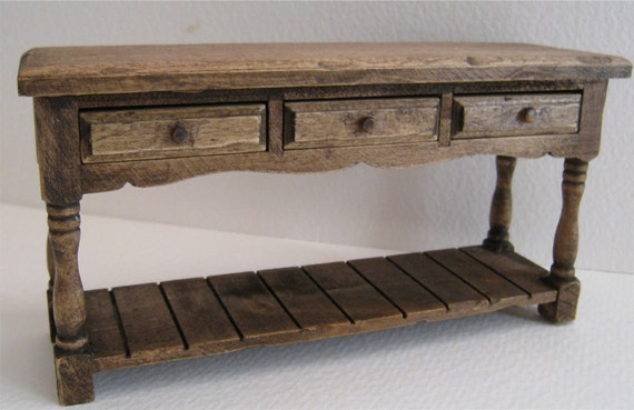 Miniature Sideboard, country sideboard, table, dollhouse table twelfth scale dollhouse mini