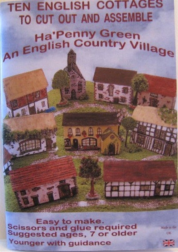 SALE Dollhouse Book,  Childs Activity Book,  English Cottages , English Village, N Scale, micro scale