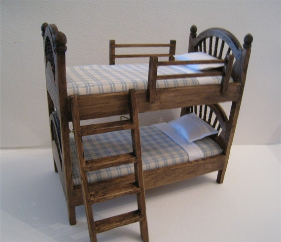 Bunk Beds, twelfth scale, country look, dollhouse miniature