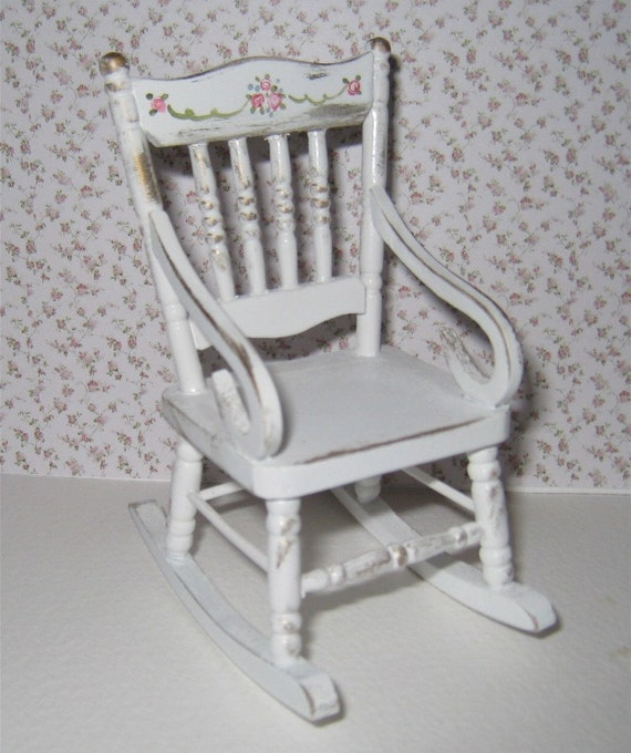 Shabby Chic rocking chair, lightly distressed white with rose bouquets ...