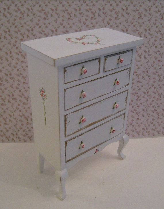 Dollhouse chest, tatty Chic chest, Drawers, pretty chest,  tall  Chest of drawers,  a dollhouse mini
