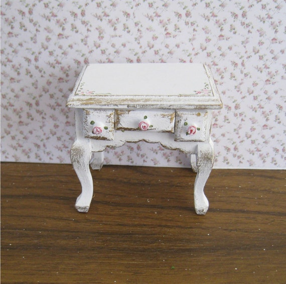 Shabby Chic  bedside chest,  distressed white with rose bouquets,  Twelfth scale dollhouse miniature