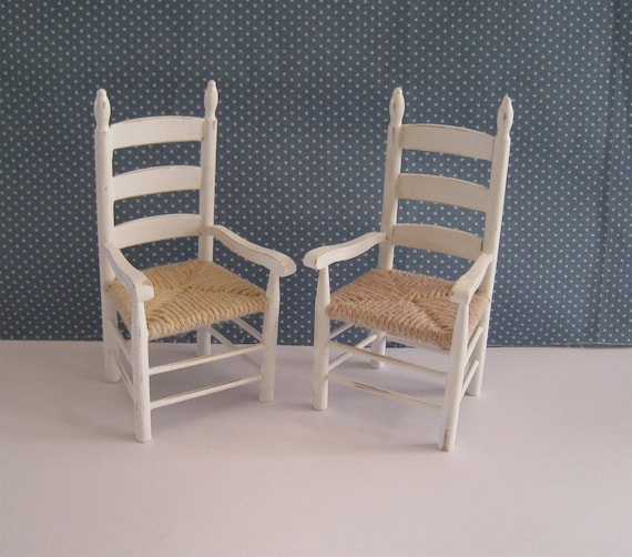 "shabby chic Chairs, carver, with arms, two  with mock yarn  ""rush"" seats,. a dollhouse mini"