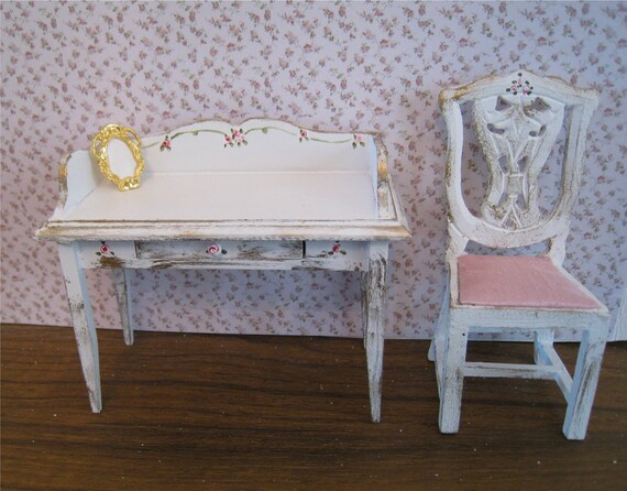 Shabby Chic  Ladies desk and chair ,  distressed white with rose bouquets,  Twelfth scale dollhouse miniature