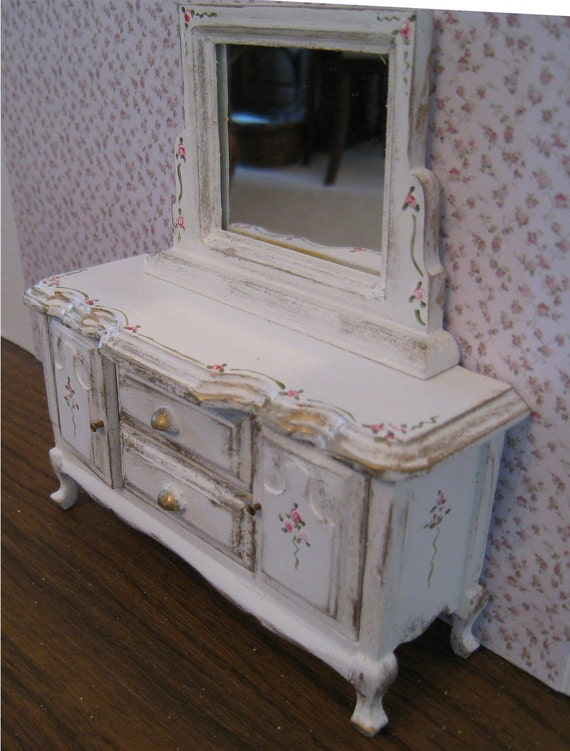 Shabby Chic  mirrored ,  distressed white with rose bouquets,  Twelfth scale dollhouse miniature