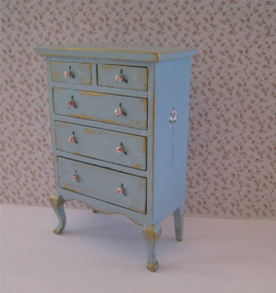 Dollhouse French country Chest of drawers, tall, duck egg blue,  with rose bouquets,  Twelfth scale dollhouse miniature