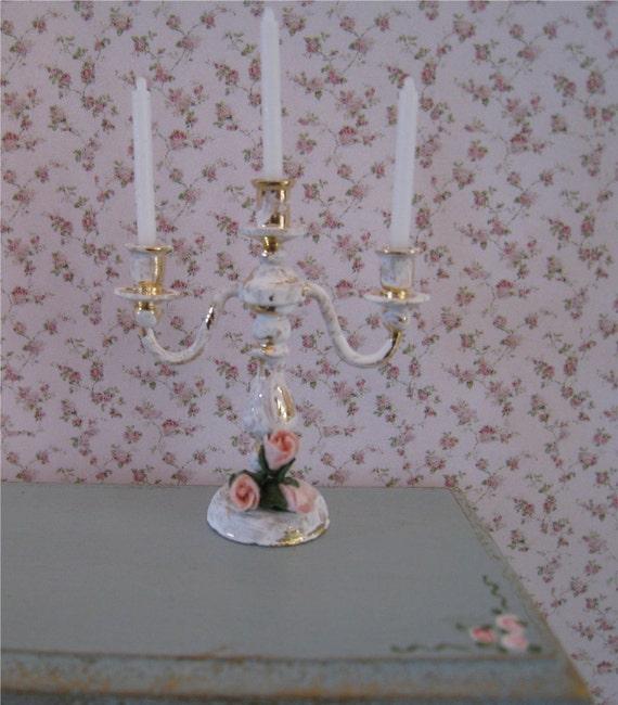 Dollshouse Candelabra, tatty chic accessory, hand finished, twelfth scale dollhouse accessory