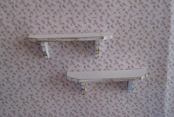 Shabby Chic shelves,  distressed white with rose bouquets,  Twelfth scale dollhouse miniature
