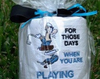 Playing Golf Like Crap Embroidered Toilet Paper