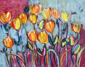 Art Print - Abstract Tulips in Watercolor