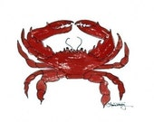 Red Crab Watercolor Print
