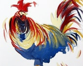 Harold the Rooster Watercolor Print