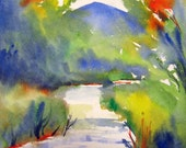 Hiking Trail, original watercolor painting by Laura L Trevey, 15 by 11