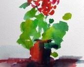 Geraniums, Original Watercolor Painting, 5 by 7