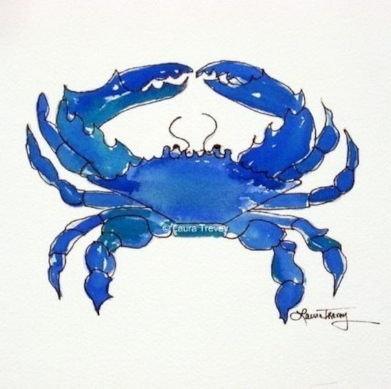Chesapeake Bay Blue Crab, Watercolor Art Print