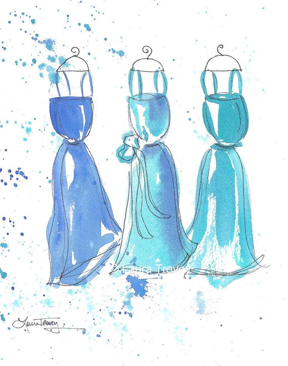 Watercolor Paintings - Turquoise Dresses