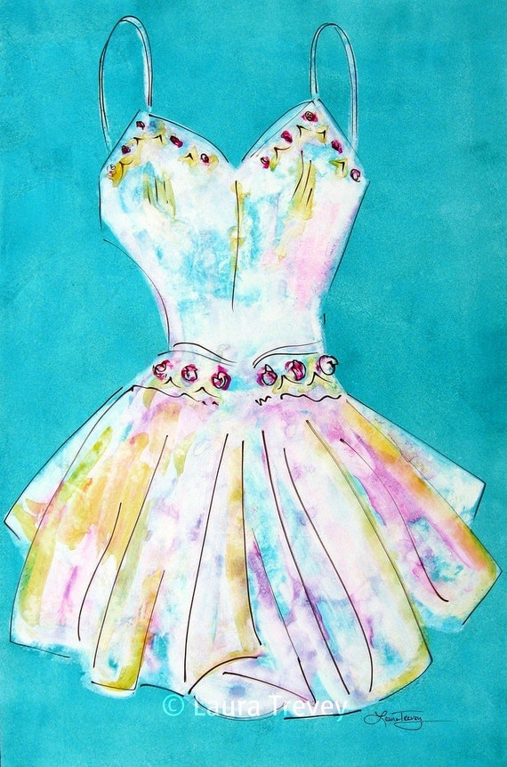 Turquoise Dress Watercolor Art Print