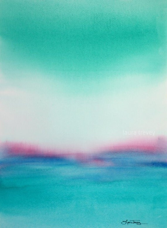 RESERVED FOR JANET / Turquoise Seascape in Watercolor