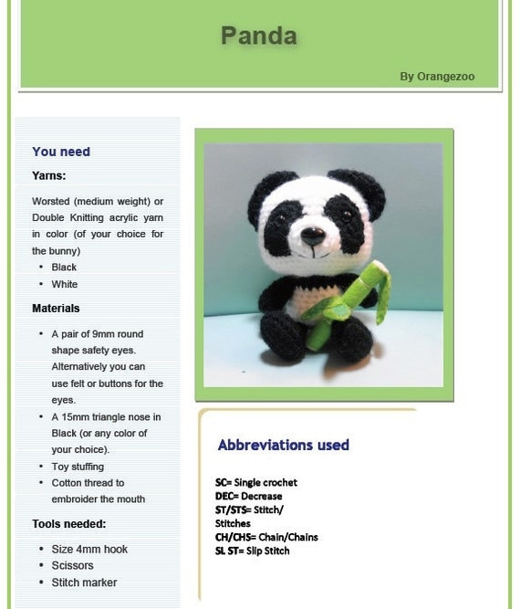 PDF Amigurumi Pattern: Panda