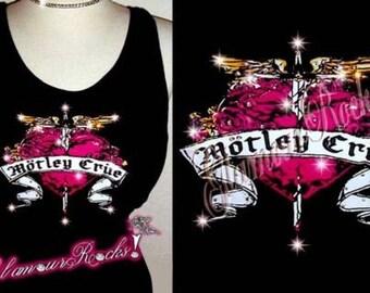 Motley Crue Band Concert Rhinestone Crystal Tank Tee T Shirt Top