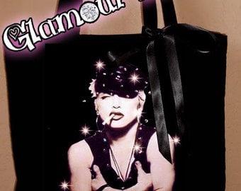 Madonna Concert Band Harley Biker Rhinestone Crystal Tote Book Bag Purse Handbag bling