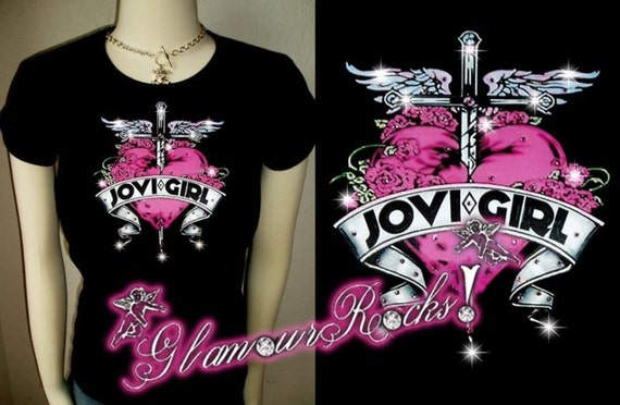 Bon Jovi Band Concert Girl Pink Heart Rhinestone Crystal T Tee Shirt Top Sexy bling Glamourrocks