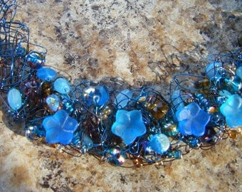 Blue Moonflower Crocheted Wire Necklace