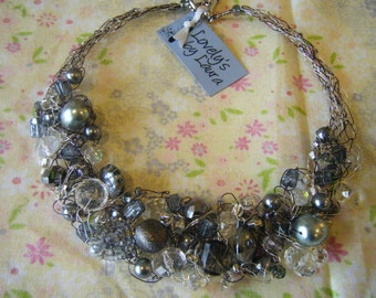 Sure to go Platinum Crocheted Wire Necklace