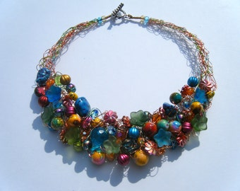 Vibrant Crocheted Wire Necklace