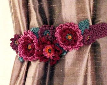 Floral Crochet Curtain Tieback Pattern,Crochet Pattern PDF