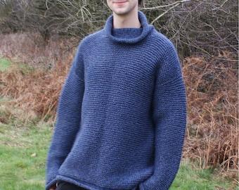 Man's Garter Stitch Sweater Knitting Pattern PDF