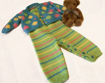Baby Dungarees and Cardigan Knitting Pattern PDF