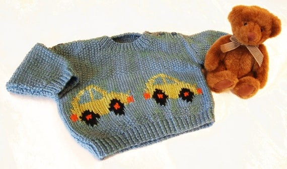 Knitting Patterns Baby Motifs : Car Motif Baby Knitting Pattern Babies Sweater with Intarsia
