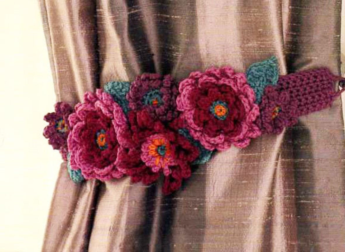 PATTERN for Floral Crochet Curtain Tieback by RuthMaddock on Etsy