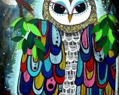Owl Original Art Print Maude Night Moon