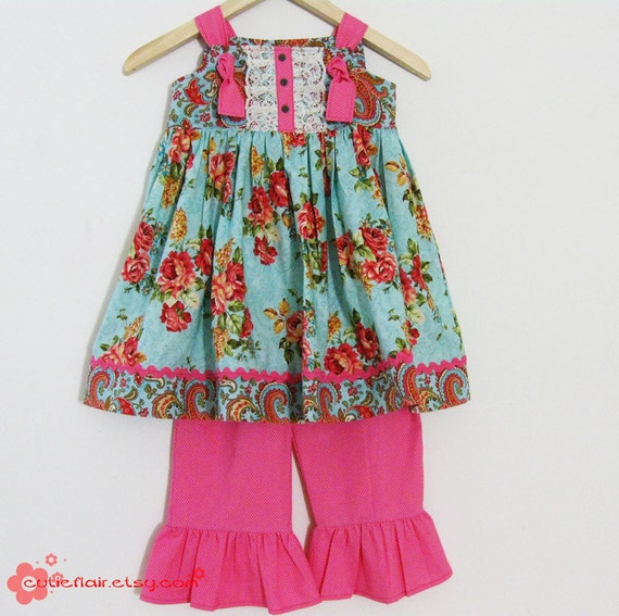 Couture Knot Dress and Ruffled Pants Set Hot Pink and Floral Size 4T - READY TO SHIP