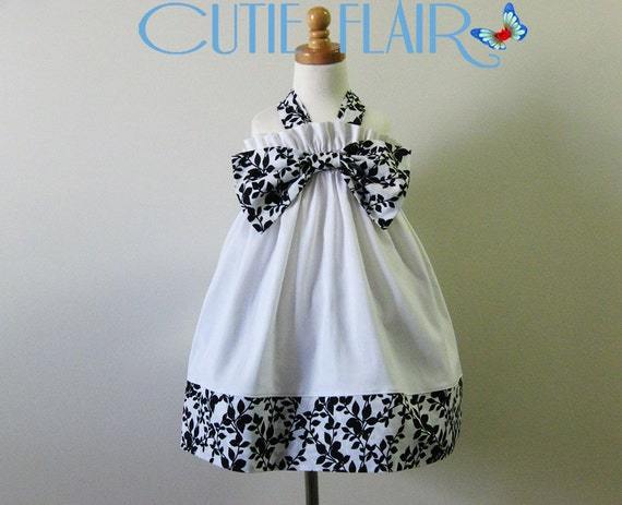 Halter Dress, Girls Halter Dress, Summer Dress, Sundress, White Black floral Trim and Bow,  Size 4T, ON SALE